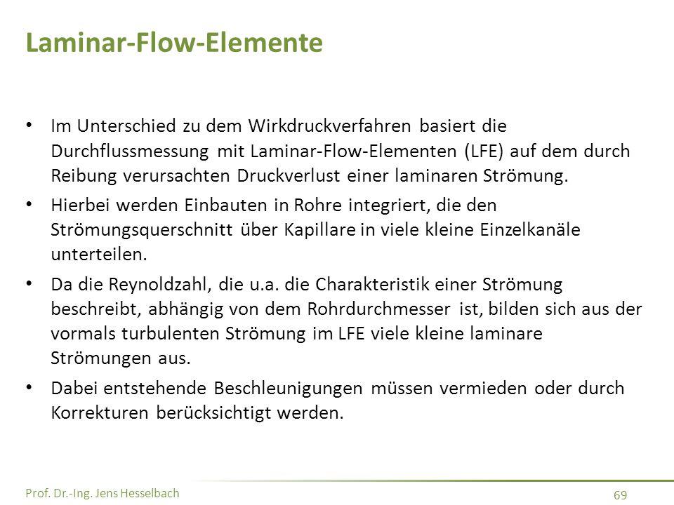 Prof. Dr.-Ing. Jens Hesselbach 69 Laminar-Flow-Elemente Im Unterschied zu dem Wirkdruckverfahren basiert die Durchflussmessung mit Laminar-Flow-Elemen
