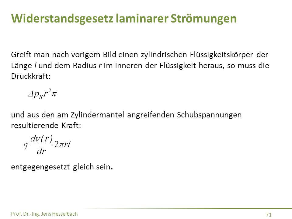 Prof. Dr.-Ing. Jens Hesselbach 71 Greift man nach vorigem Bild einen zylindrischen Flüssigkeitskörper der Länge l und dem Radius r im Inneren der Flüs
