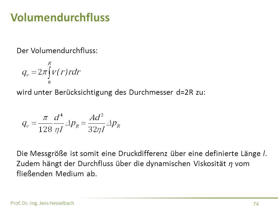 Prof. Dr.-Ing. Jens Hesselbach 74 Volumendurchfluss Der Volumendurchfluss: wird unter Berücksichtigung des Durchmesser d=2R zu: Die Messgröße ist somi