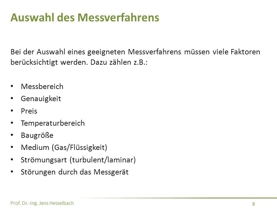 Prof. Dr.-Ing. Jens Hesselbach 8 Auswahl des Messverfahrens Bei der Auswahl eines geeigneten Messverfahrens müssen viele Faktoren berücksichtigt werde