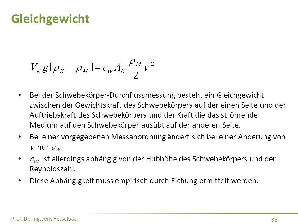 Prof. Dr.-Ing. Jens Hesselbach 86 Gleichgewicht Bei der Schwebekörper-Durchflussmessung besteht ein Gleichgewicht zwischen der Gewichtskraft des Schwe