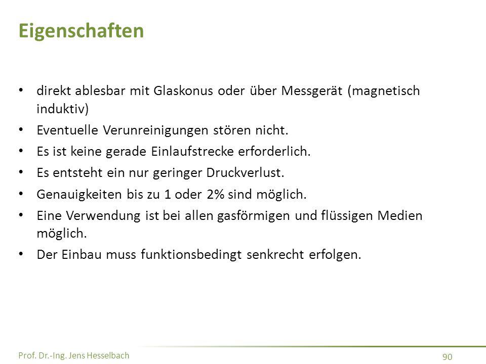 Prof. Dr.-Ing. Jens Hesselbach 90 Eigenschaften direkt ablesbar mit Glaskonus oder über Messgerät (magnetisch induktiv) Eventuelle Verunreinigungen st