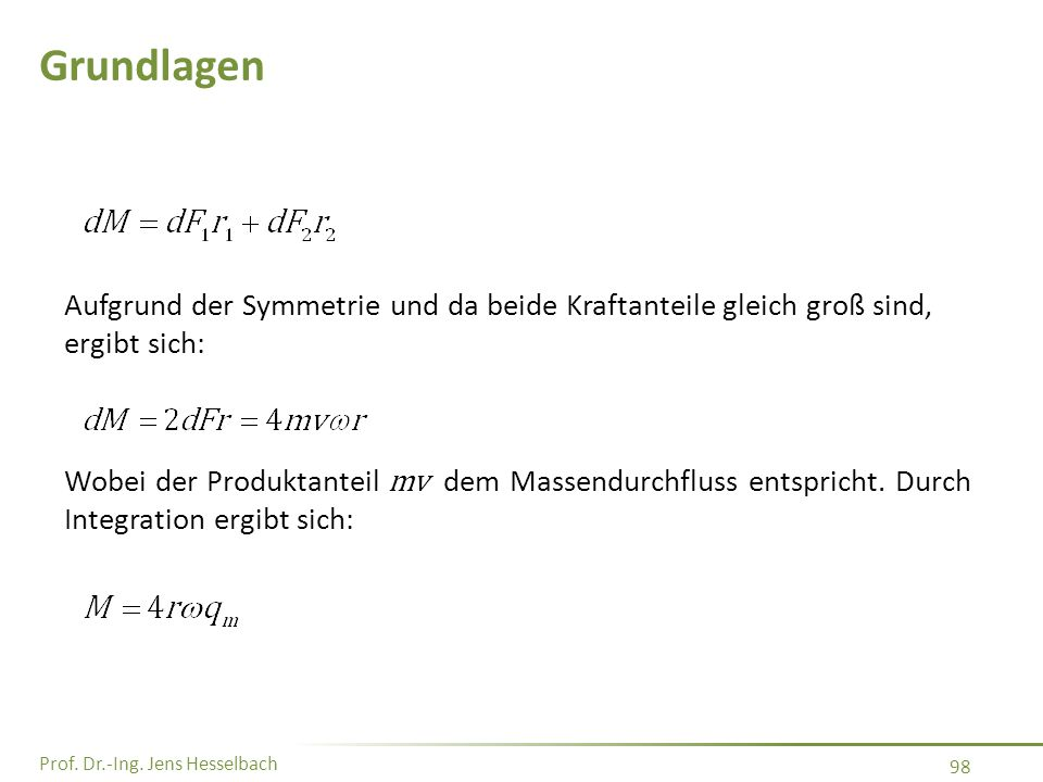 Prof. Dr.-Ing. Jens Hesselbach 98 Grundlagen Aufgrund der Symmetrie und da beide Kraftanteile gleich groß sind, ergibt sich: Wobei der Produktanteil m