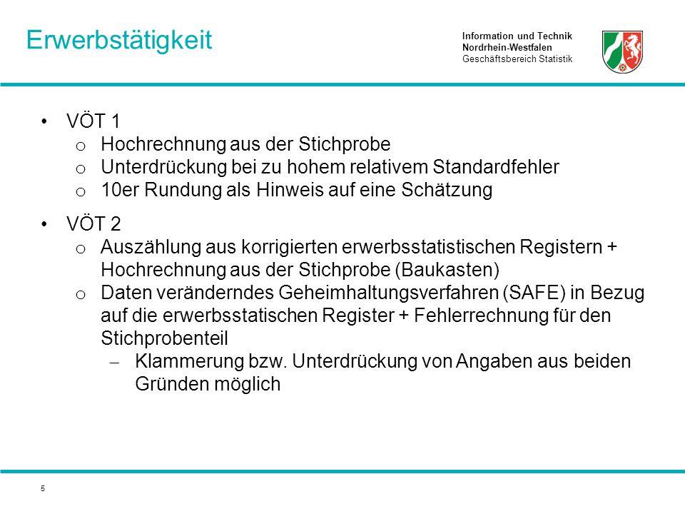 Information und Technik Nordrhein-Westfalen Geschäftsbereich Statistik 5 VÖT 1 o Hochrechnung aus der Stichprobe o Unterdrückung bei zu hohem relativem Standardfehler o 10er Rundung als Hinweis auf eine Schätzung VÖT 2 o Auszählung aus korrigierten erwerbsstatistischen Registern + Hochrechnung aus der Stichprobe (Baukasten) o Daten veränderndes Geheimhaltungsverfahren (SAFE) in Bezug auf die erwerbsstatischen Register + Fehlerrechnung für den Stichprobenteil  Klammerung bzw.
