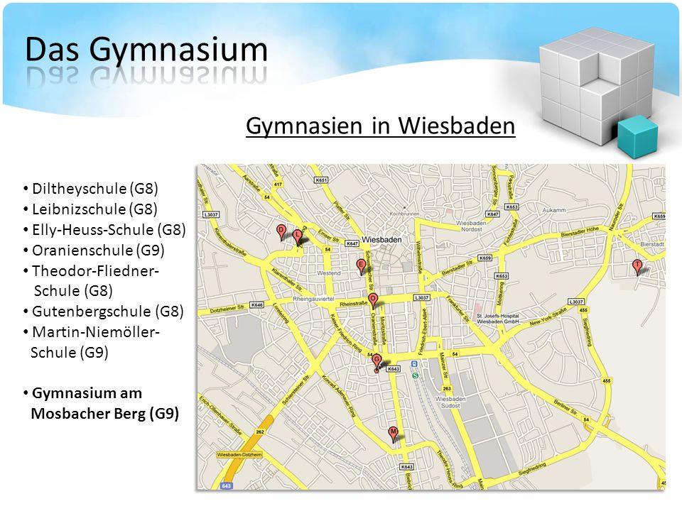 Gymnasien in Wiesbaden Diltheyschule (G8) Leibnizschule (G8) Elly-Heuss-Schule (G8) Oranienschule (G9) Theodor-Fliedner- Schule (G8) Gutenbergschule (