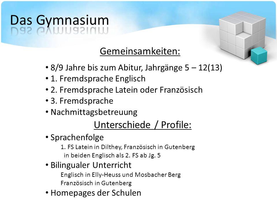 Gemeinsamkeiten: 8/9 Jahre bis zum Abitur, Jahrgänge 5 – 12(13) 1. Fremdsprache Englisch 2. Fremdsprache Latein oder Französisch 3. Fremdsprache Nachm