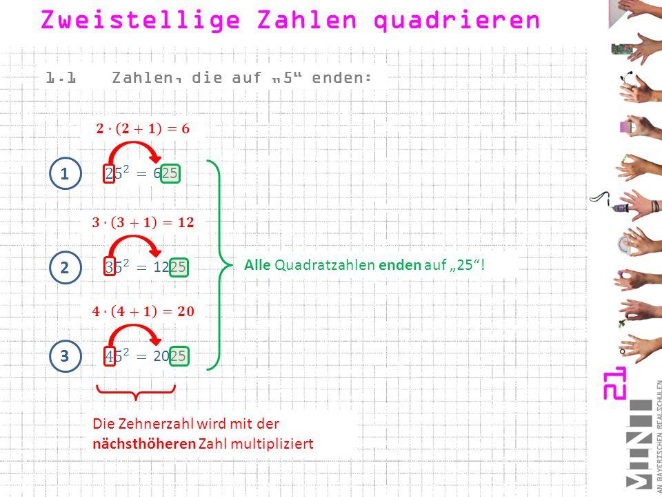 """1 625 1.1Zahlen, die auf """"5"""" enden: 2 1225 3 2025 Alle Quadratzahlen enden auf """"25""""! Die Zehnerzahl wird mit der nächsthöheren Zahl multipliziert Zwei"""