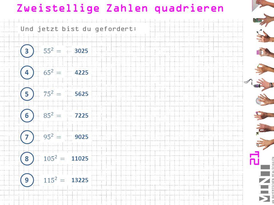 """1 1.2Zahlen, die nicht auf """"5 enden: 20 - 1 + 1 22 = 441 2 30 - 2 + 2 34 = 1024 3 44 - 3 + 3 50 = 2209 Zweistellige Zahlen quadrieren"""