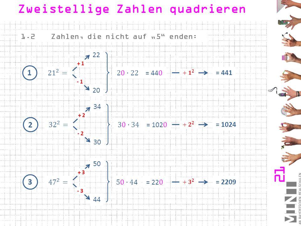 4 Und jetzt bist du dran: 12 - 4 + 4 20 = 256 5 26 - 2 + 2 30 = 784 6 38 - 1 + 1 40 = 1521 Zweistellige Zahlen quadrieren