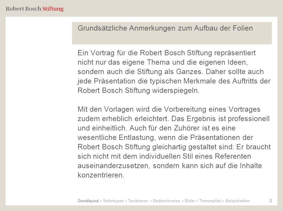 2 Grundsätzliche Anmerkungen zum Aufbau der Folien Ein Vortrag für die Robert Bosch Stiftung repräsentiert nicht nur das eigene Thema und die eigenen