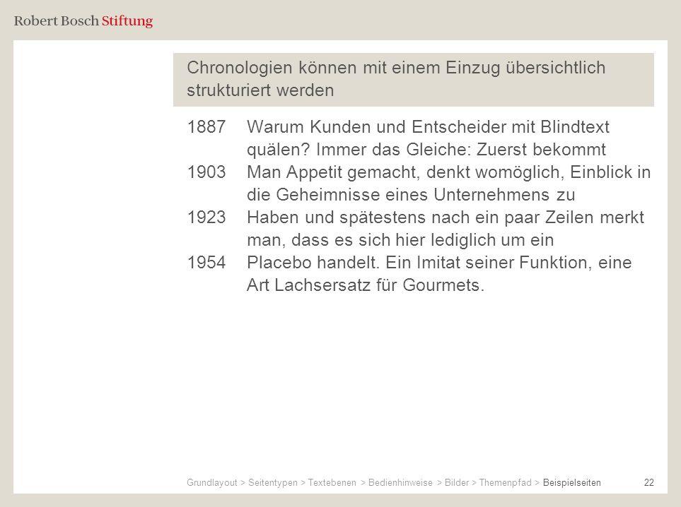 Chronologien können mit einem Einzug übersichtlich strukturiert werden 22 1887Warum Kunden und Entscheider mit Blindtext quälen? Immer das Gleiche: Zu