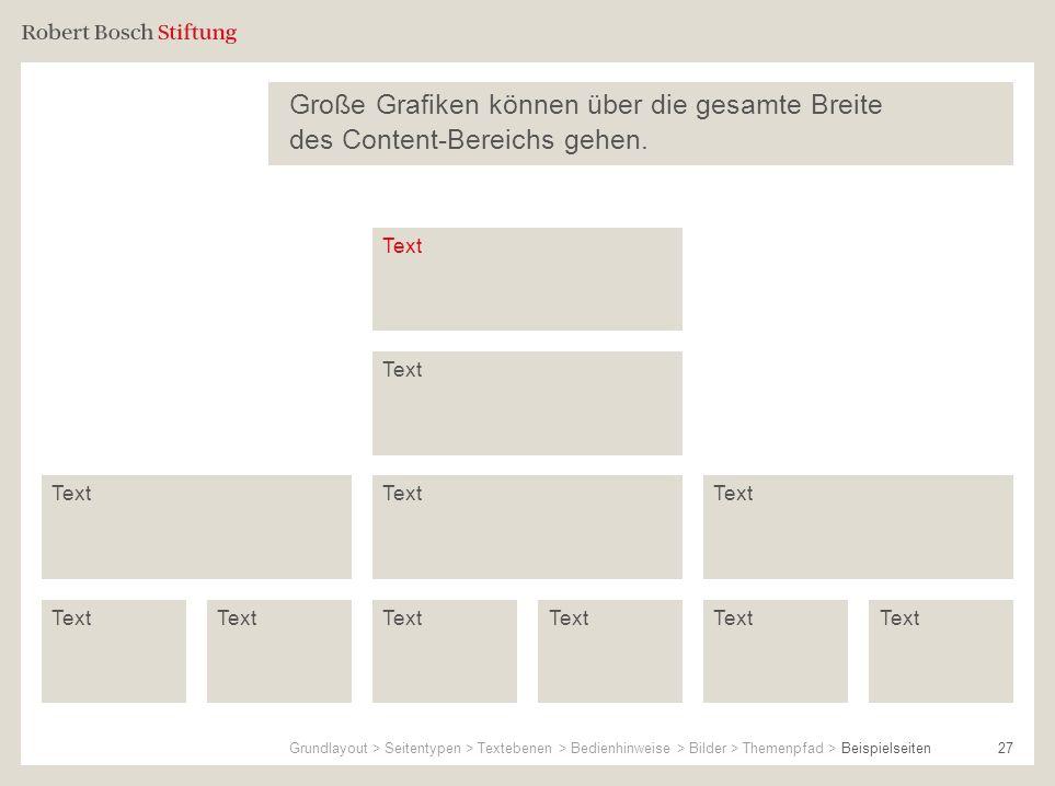 27 Große Grafiken können über die gesamte Breite des Content-Bereichs gehen. Text Grundlayout > Seitentypen > Textebenen > Bedienhinweise > Bilder > T