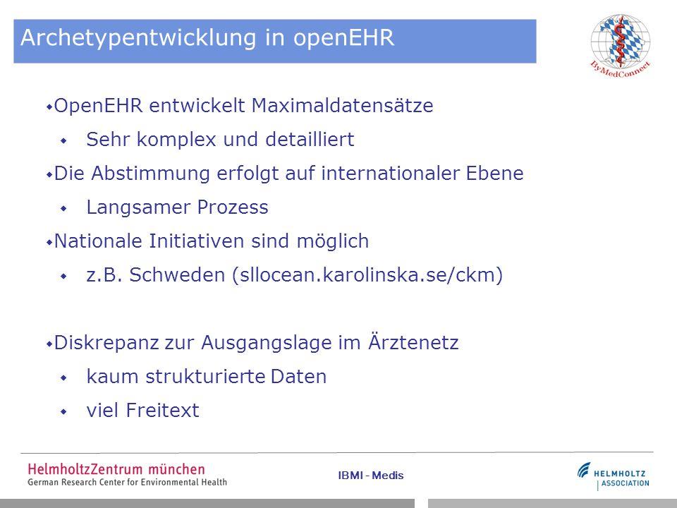 IBMI - Medis Archetypentwicklung in openEHR  OpenEHR entwickelt Maximaldatensätze  Sehr komplex und detailliert  Die Abstimmung erfolgt auf interna