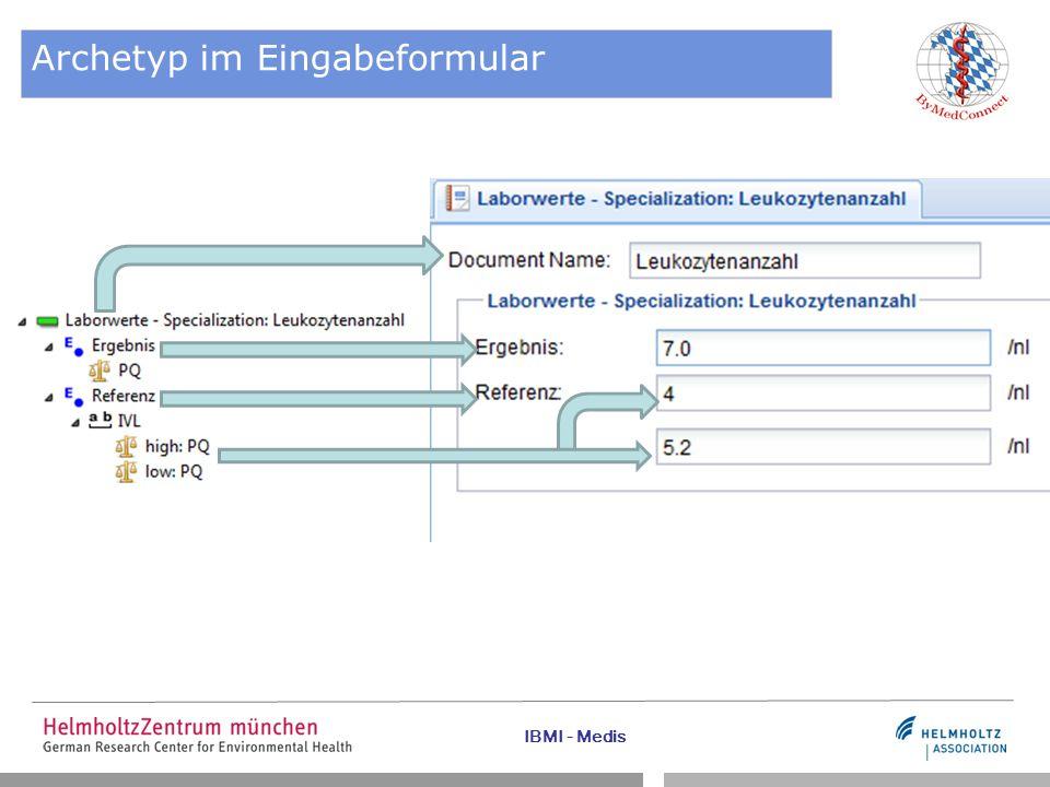 IBMI - Medis Archetyp im Eingabeformular