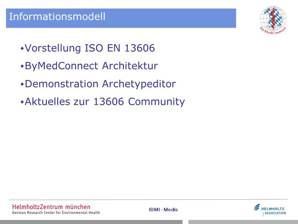 IBMI - Medis Standard ISO EN 13606 – Ausblick II Detailed Clinical Models  Unabhängig von Referenzmodellen  Brücke zwischen verschiedenen Standards  mehr dazu unter: http://wiki.hl7.org/index.php?title=Detailed_Clinical_Models 13606-Community  Gründung der 13606 Gesellschaft erfolgte in 2010  Forum und WIKI unter www.en13606.org  Beteiligte aus 12 Ländern beim Kick-Off (u.a.