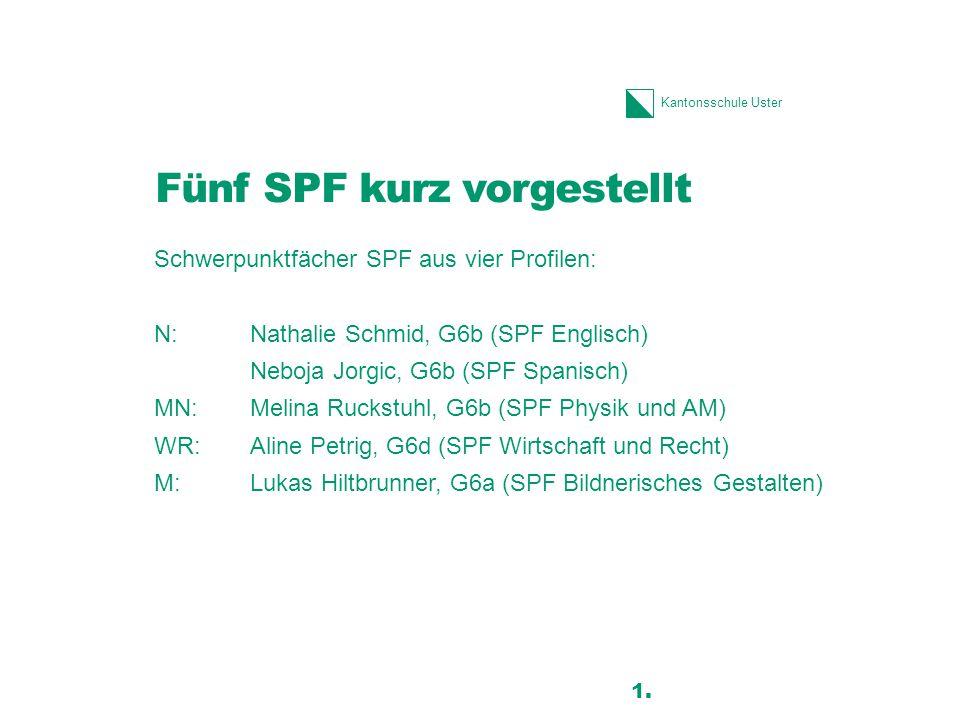 Kantonsschule Uster Fünf SPF kurz vorgestellt Schwerpunktfächer SPF aus vier Profilen: N:Nathalie Schmid, G6b (SPF Englisch) Neboja Jorgic, G6b (SPF Spanisch) MN:Melina Ruckstuhl, G6b (SPF Physik und AM) WR:Aline Petrig, G6d (SPF Wirtschaft und Recht) M:Lukas Hiltbrunner, G6a (SPF Bildnerisches Gestalten) 11 1.