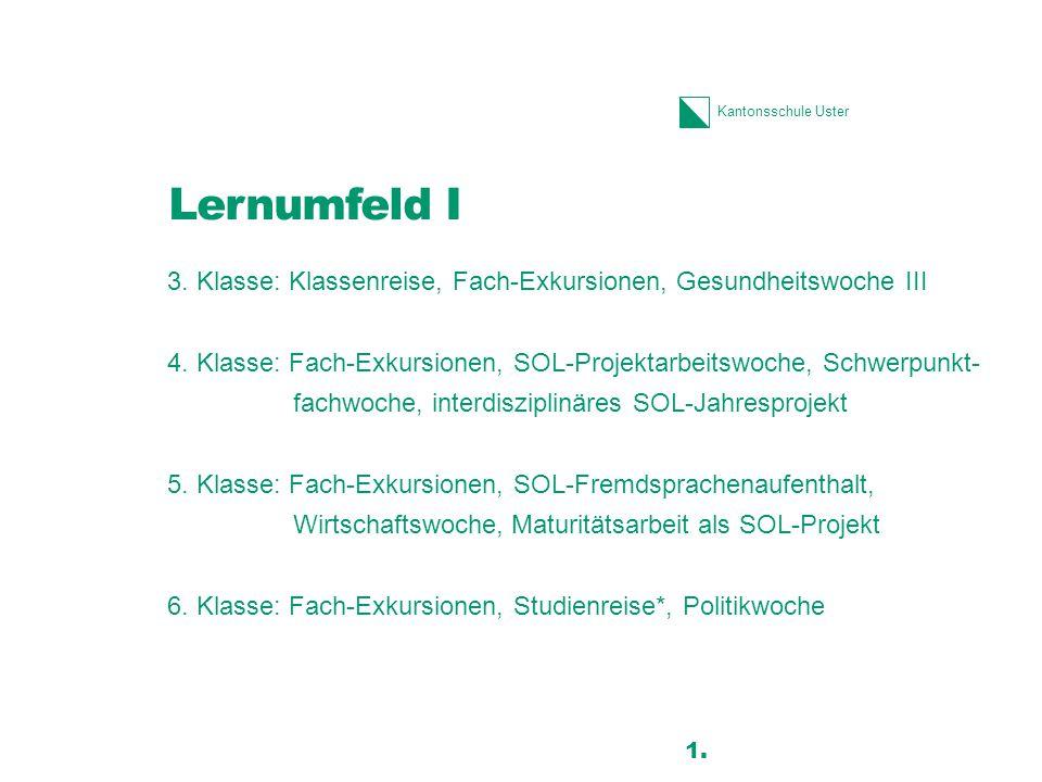 Kantonsschule Uster Lernumfeld I 3.Klasse: Klassenreise, Fach-Exkursionen, Gesundheitswoche III 4.