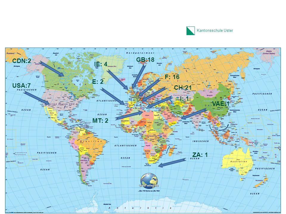 Kantonsschule Uster Lernumfeld II SOL-Fremdsprachenaufenthalt FSA –SOL-Modul (3 Wochen obligatorisch für alle innerhalb von 6 Wochen Sommerferien) –Planung, Durchführung und Evaluation durch die SchülerInnen selbst –Die SchülerInnen sind alleine im FSA –Koordination durch die SOL-Beratungsstelle der Schule –Kosten zulasten der SchülerInnen (Fonds) 22 1.