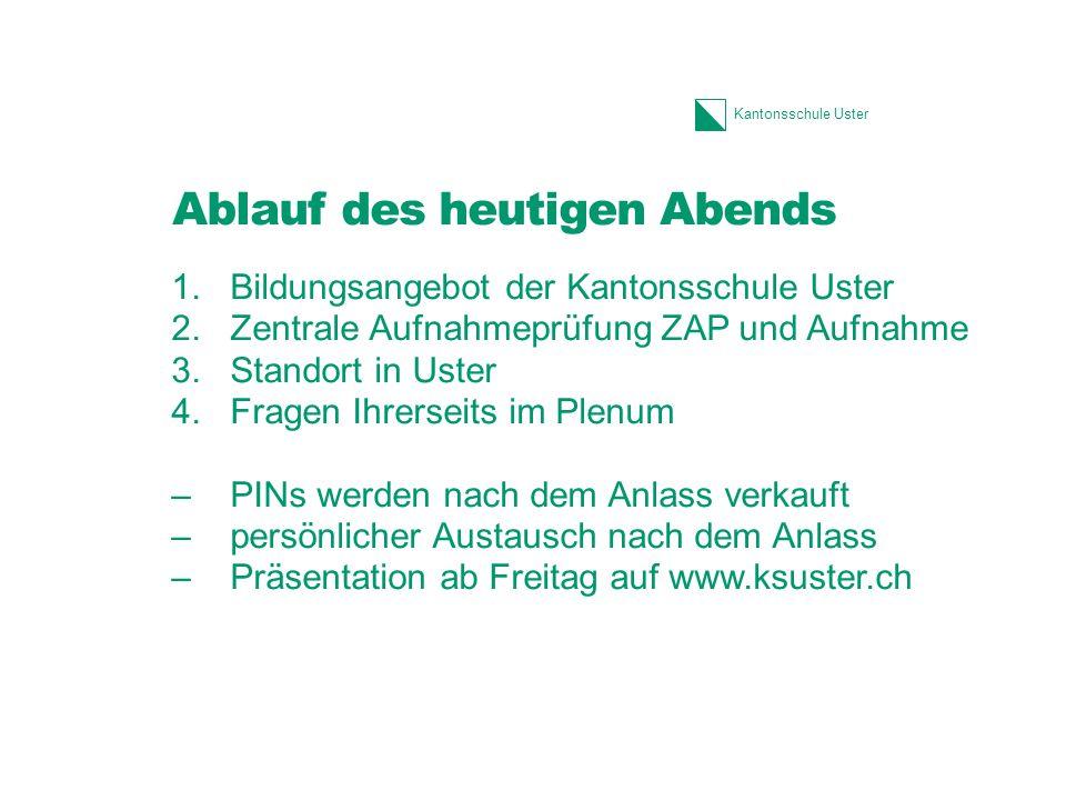 Kantonsschule Uster Schnuppertage für SchülerInnen Direkter Einblick in den Unterricht erhalten.