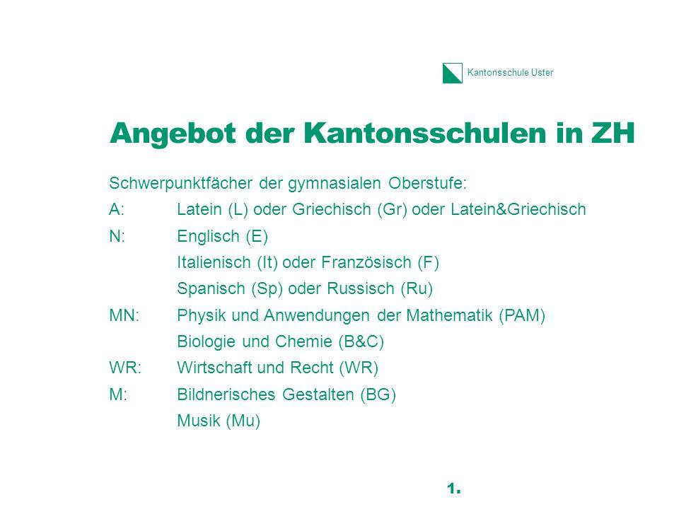 Kantonsschule Uster Anmeldung an die KUS Altersgrenze und Vorbildung –geboren nach dem 30.