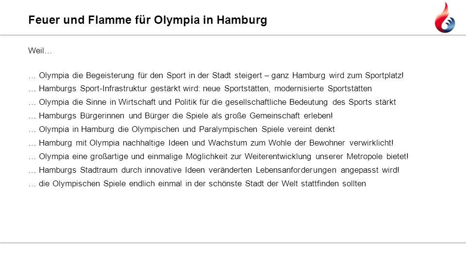 Weil… … Olympia die Begeisterung für den Sport in der Stadt steigert – ganz Hamburg wird zum Sportplatz! … Hamburgs Sport-Infrastruktur gestärkt wird: