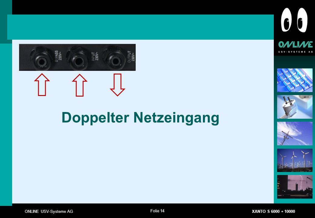 Folie 14 ONLINE USV-Systeme AG XANTO S 6000 + 10000 Doppelter Netzeingang