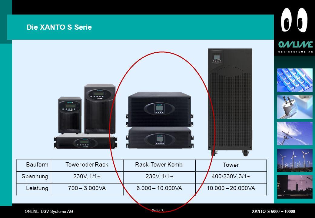 Folie 3 ONLINE USV-Systeme AG XANTO S 6000 + 10000 BauformTower oder Rack Spannung230V, 1/1~ Leistung700 – 3.000VA Die XANTO S Serie Rack-Tower-Kombi 230V, 1/1~ 6.000 – 10.000VA Tower 400/230V, 3/1~ 10.000 – 20.000VA