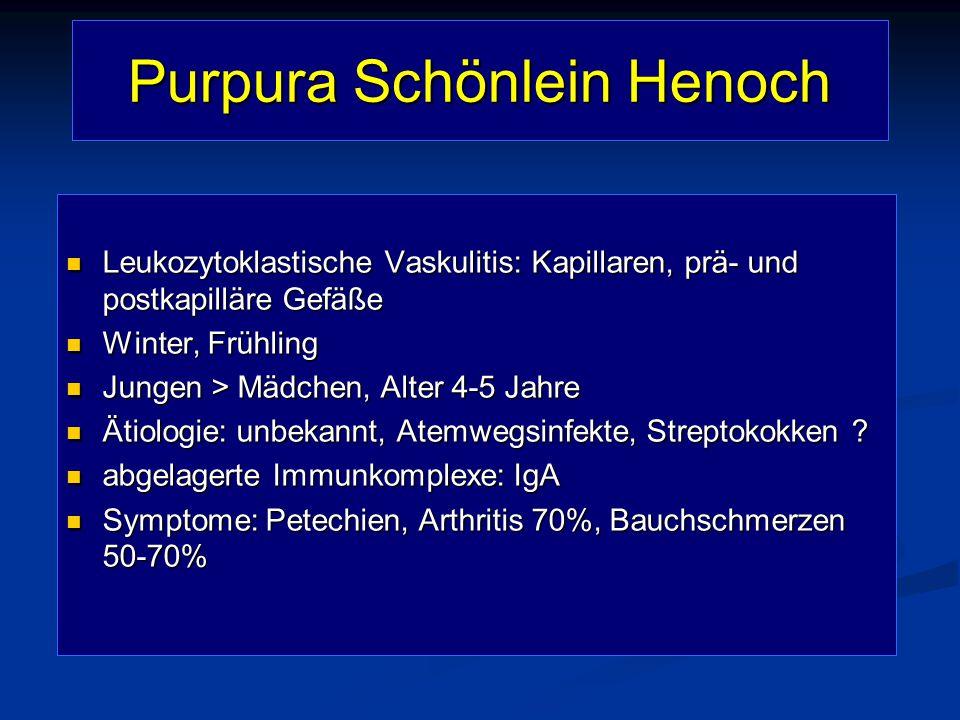 Purpura Schönlein Henoch Leukozytoklastische Vaskulitis: Kapillaren, prä- und postkapilläre Gefäße Leukozytoklastische Vaskulitis: Kapillaren, prä- un
