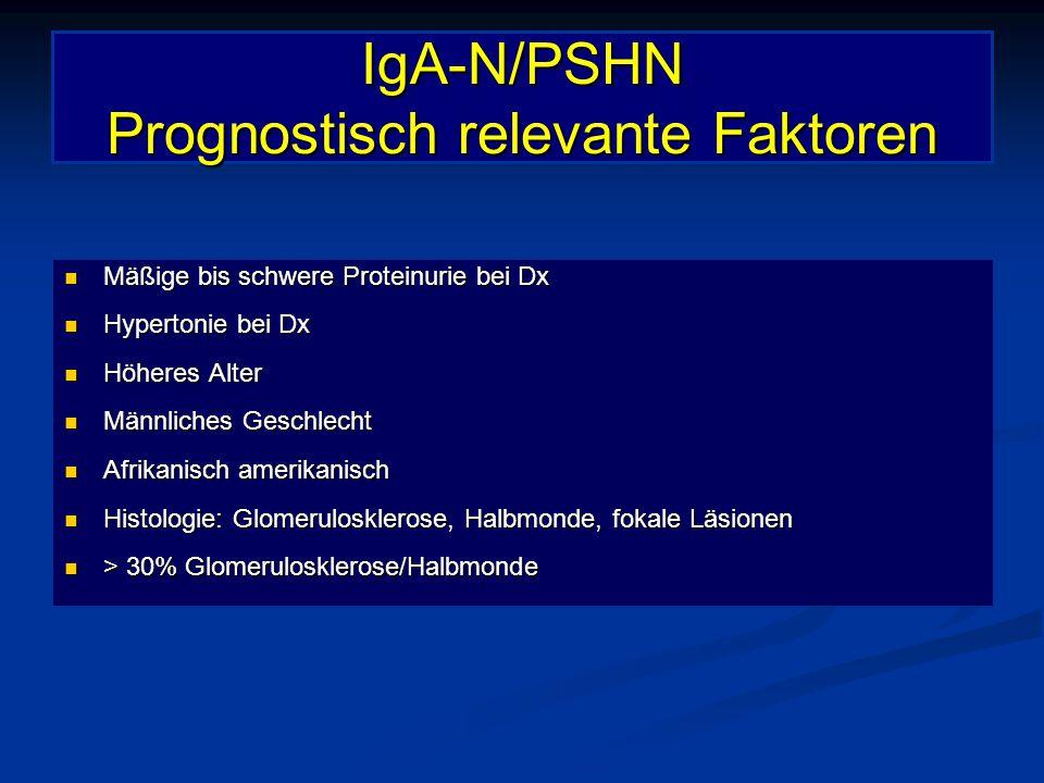 IgA-N/PSHN Prognostisch relevante Faktoren Mäßige bis schwere Proteinurie bei Dx Mäßige bis schwere Proteinurie bei Dx Hypertonie bei Dx Hypertonie be