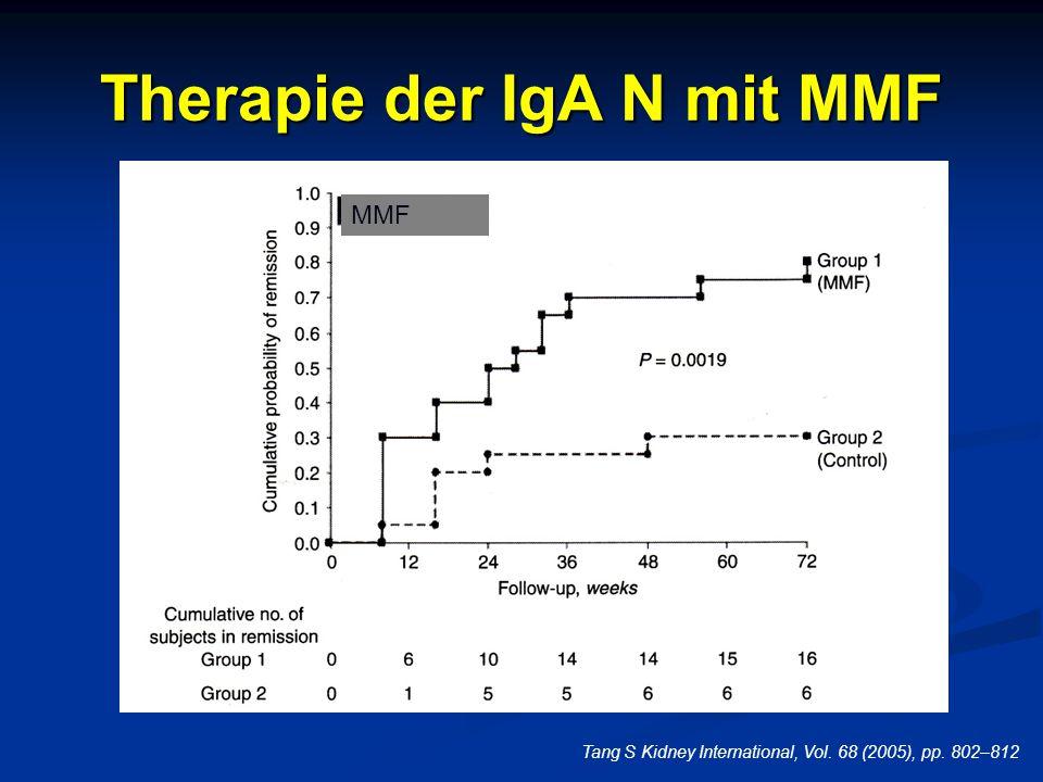 Therapie der IgA N mit MMF Tang S Kidney International, Vol. 68 (2005), pp. 802–812 MMF