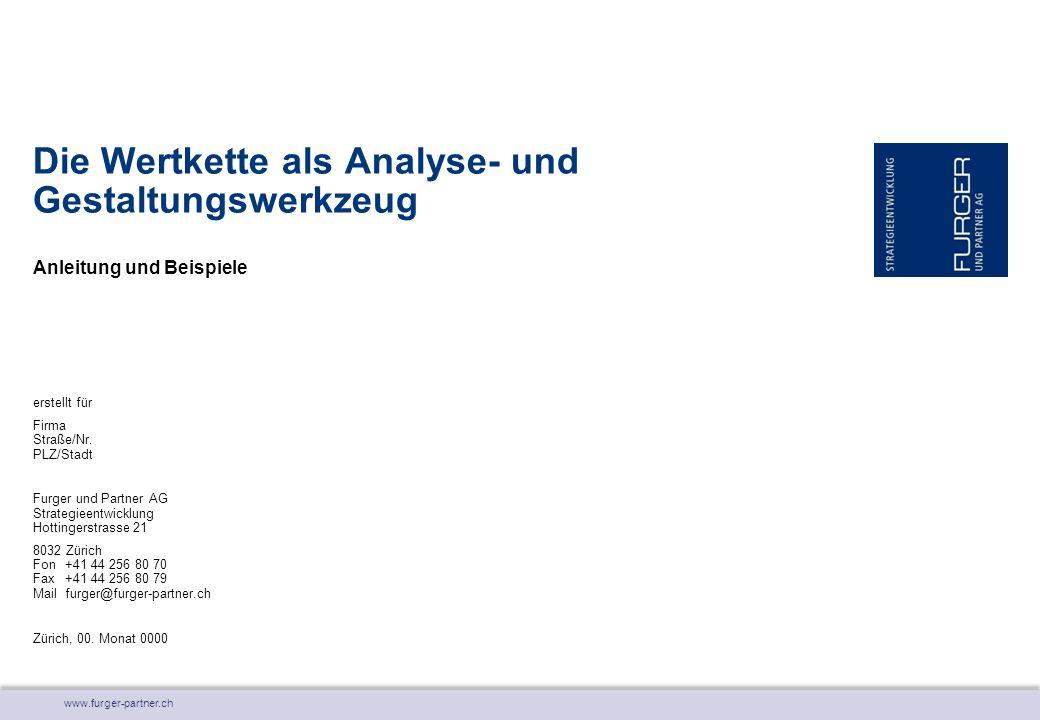 www.furger-partner.ch Anleitung und Beispiele Die Wertkette als Analyse- und Gestaltungswerkzeug erstellt für Firma Straße/Nr. PLZ/Stadt Furger und Pa