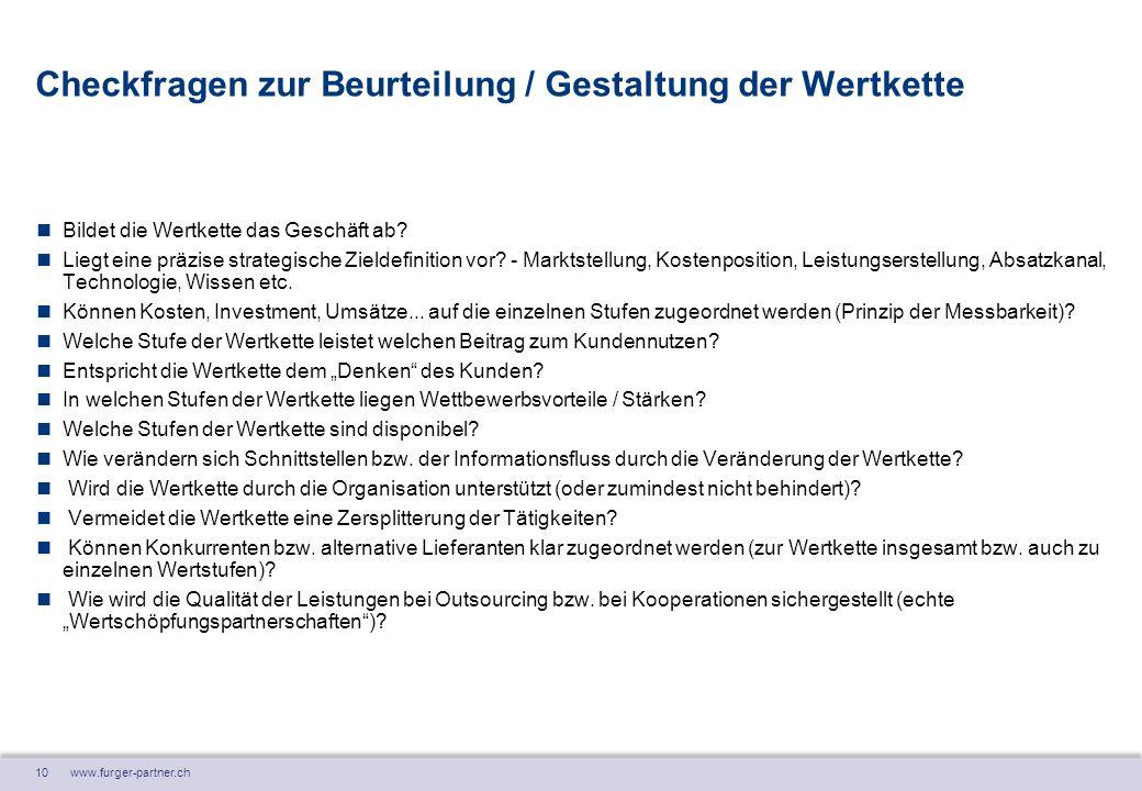 10 www.furger-partner.ch Checkfragen zur Beurteilung / Gestaltung der Wertkette Bildet die Wertkette das Geschäft ab? Liegt eine präzise strategische