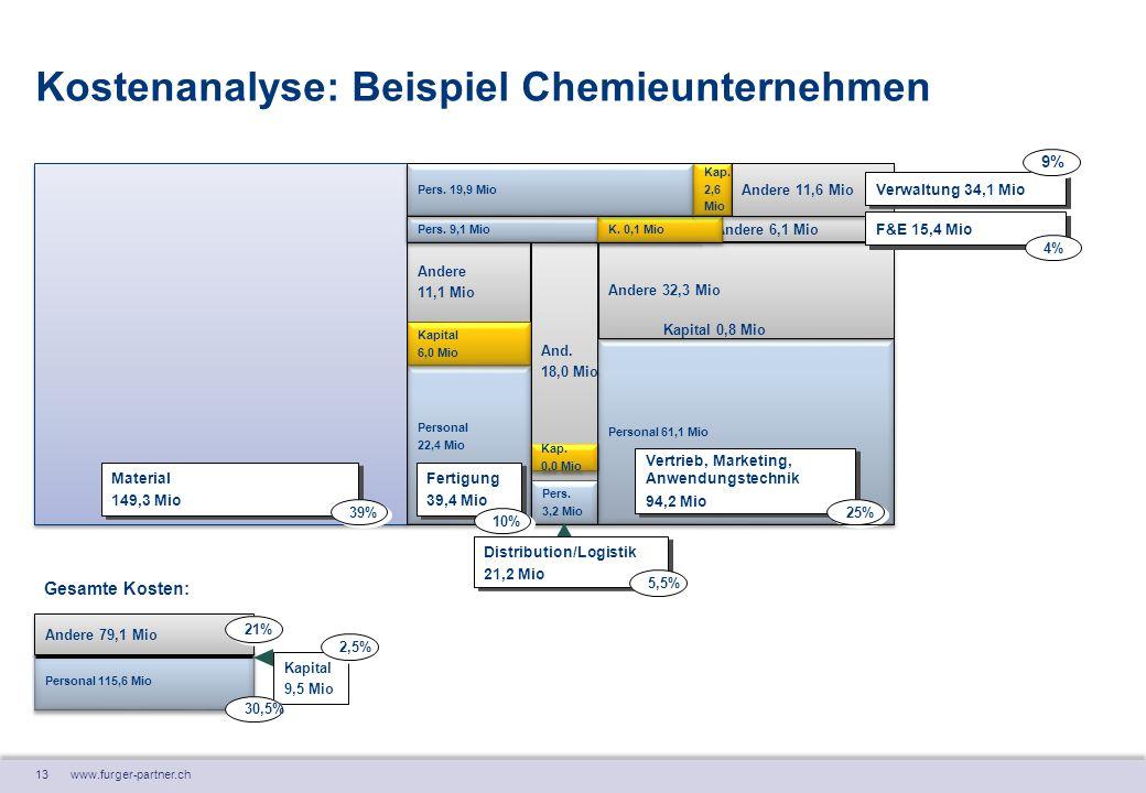 13 www.furger-partner.ch Kostenanalyse: Beispiel Chemieunternehmen Personal 22,4 Mio Personal 22,4 Mio Andere 11,1 Mio Andere 11,1 Mio Kapital 6,0 Mio