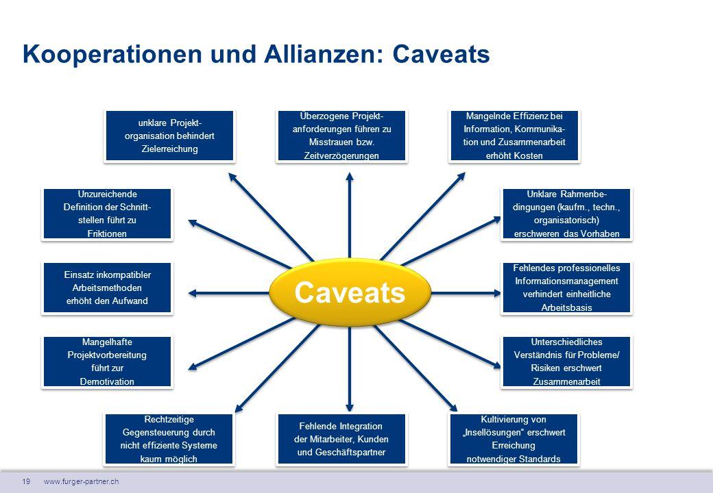 19 www.furger-partner.ch Kooperationen und Allianzen: Caveats Caveats unklare Projekt- organisation behindert Zielerreichung unklare Projekt- organisa