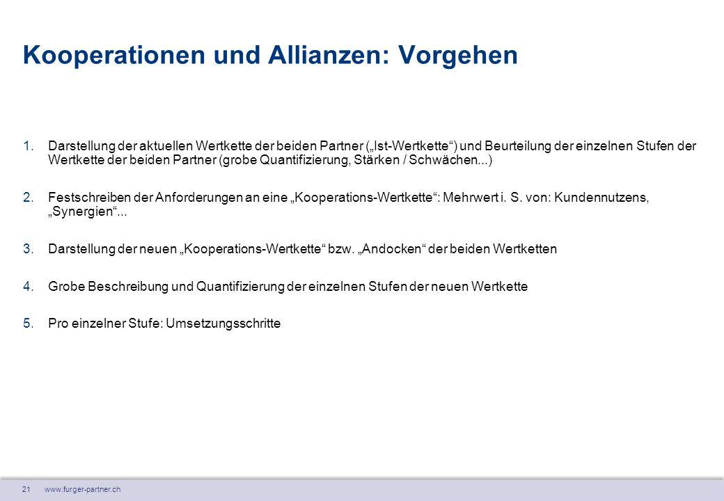 """21 www.furger-partner.ch Kooperationen und Allianzen: Vorgehen 1.Darstellung der aktuellen Wertkette der beiden Partner (""""Ist-Wertkette"""") und Beurteil"""