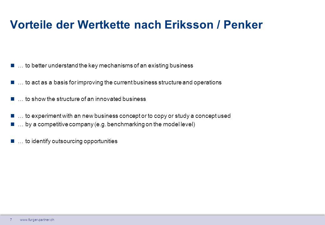 7 www.furger-partner.ch Vorteile der Wertkette nach Eriksson / Penker … to better understand the key mechanisms of an existing business … to act as a