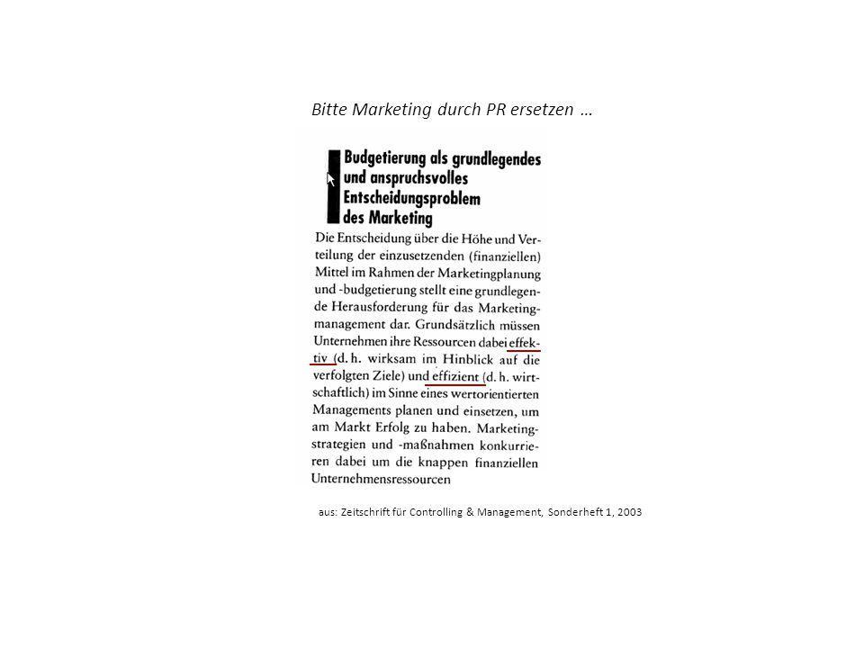 Bitte Marketing durch PR ersetzen … aus: Zeitschrift für Controlling & Management, Sonderheft 1, 2003