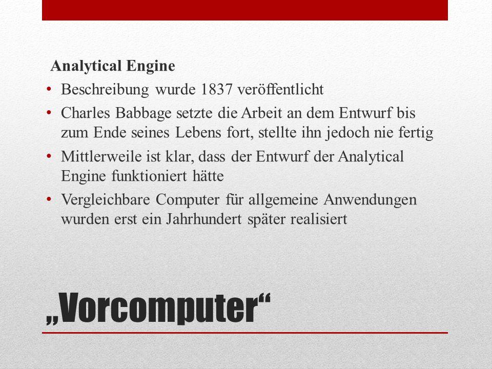 """""""Vorcomputer"""" Analytical Engine Beschreibung wurde 1837 veröffentlicht Charles Babbage setzte die Arbeit an dem Entwurf bis zum Ende seines Lebens for"""