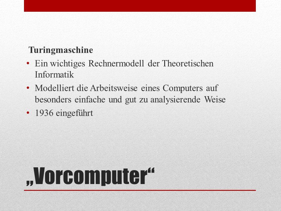 """""""Vorcomputer"""" Turingmaschine Ein wichtiges Rechnermodell der Theoretischen Informatik Modelliert die Arbeitsweise eines Computers auf besonders einfac"""