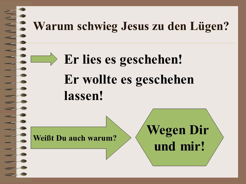 Warum schwieg Jesus zu den Lügen.Er lies es geschehen.