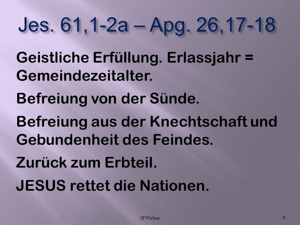 Jes. 61,1-2a – Apg. 26,17-18 Geistliche Erfüllung. Erlassjahr = Gemeindezeitalter. Befreiung von der Sünde. Befreiung aus der Knechtschaft und Gebunde