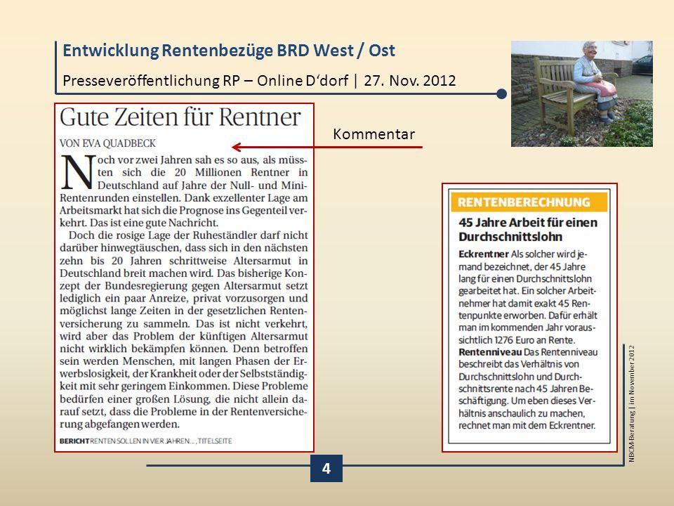 Entwicklung Rentenbezüge BRD West / Ost NBCM-Beratung | im November 2012 4 Presseveröffentlichung RP – Online D'dorf | 27. Nov. 2012 Kommentar