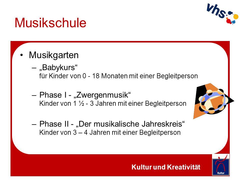 """Musikschule Musikgarten –""""Babykurs"""" für Kinder von 0 - 18 Monaten mit einer Begleitperson –Phase I - """"Zwergenmusik"""" Kinder von 1 ½ - 3 Jahren mit eine"""