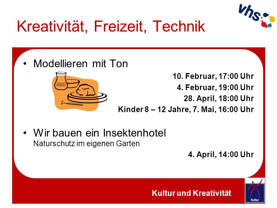 Kreativität, Freizeit, Technik Modellieren mit Ton 10. Februar, 17:00 Uhr 4. Februar, 19:00 Uhr 28. April, 18:00 Uhr Kinder 8 – 12 Jahre, 7. Mai, 16:0