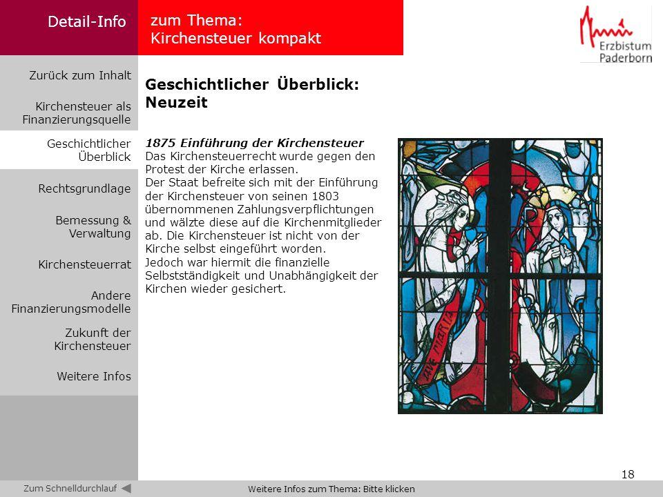 18 zum Thema: Kirchensteuer kompakt Zurück zum Inhalt Kirchensteuer als Finanzierungsquelle Bemessung & Verwaltung Geschichtlicher Überblick Rechtsgru