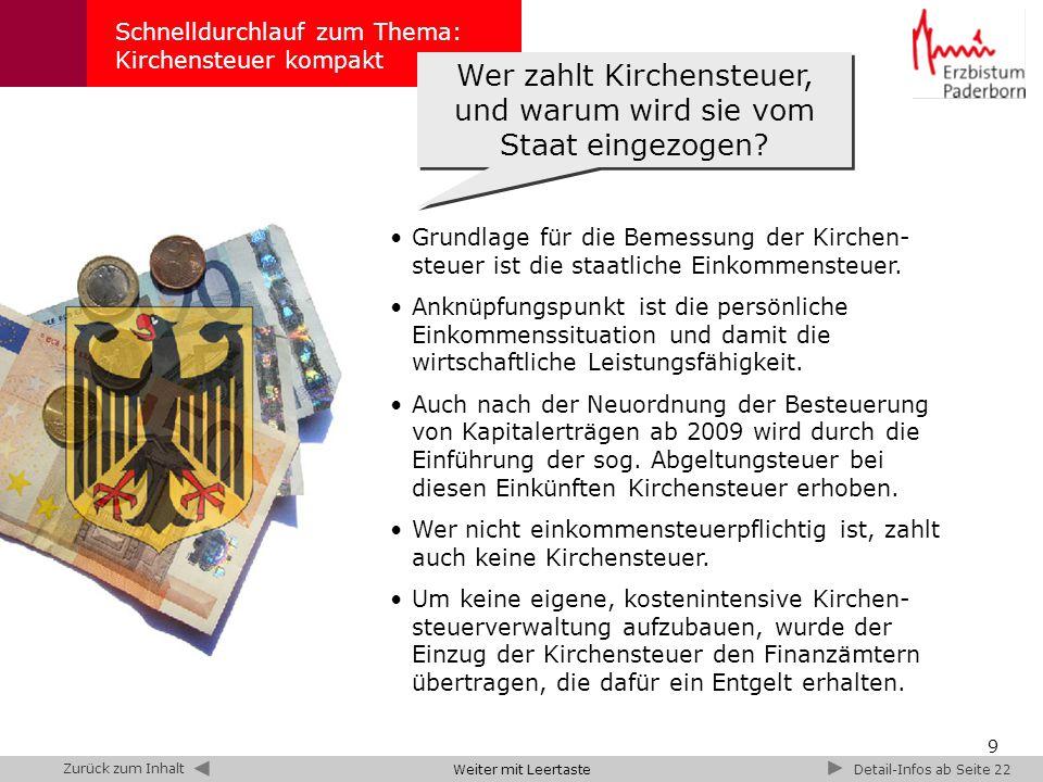 10 Schnelldurchlauf zum Thema: Kirchensteuer kompakt Kirchensteuerrat Zusammensetzung des Kirchensteuerrats Im Erzbistum Paderborn berät der Kirchensteuerrat den Erzbischof bei der Festsetzung der Kirchensteuer und deren Verwendung.