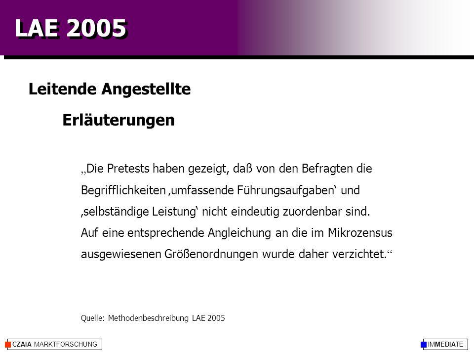 """IMMEDIATECZAIA MARKTFORSCHUNG LAE 2005 Erläuterungen Leitende Angestellte """" Die Pretests haben gezeigt, daß von den Befragten die Begrifflichkeiten 'umfassende Führungsaufgaben' und 'selbständige Leistung' nicht eindeutig zuordenbar sind."""