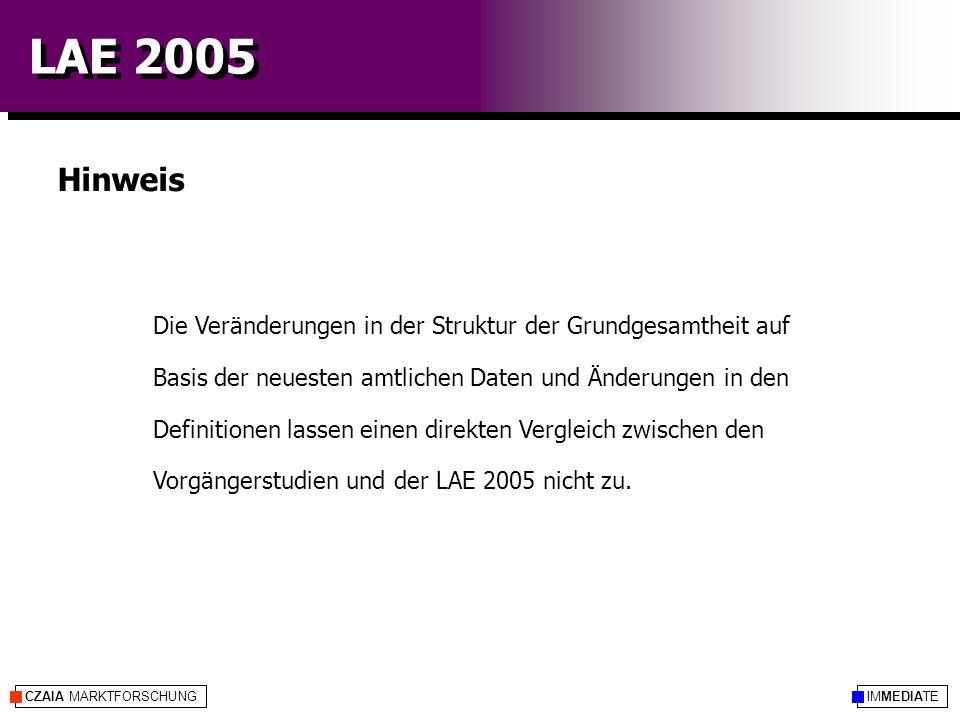 IMMEDIATECZAIA MARKTFORSCHUNG LAE 2005 Die Veränderungen in der Struktur der Grundgesamtheit auf Basis der neuesten amtlichen Daten und Änderungen in den Definitionen lassen einen direkten Vergleich zwischen den Vorgängerstudien und der LAE 2005 nicht zu.