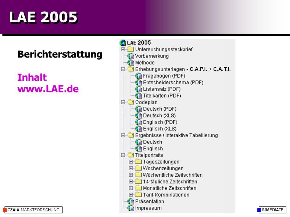 IMMEDIATECZAIA MARKTFORSCHUNG LAE 2005 Berichterstattung Inhalt www.LAE.de 2005 - C.A.P.I.