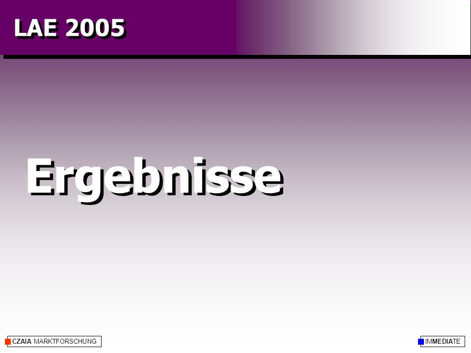 CZAIA MARKTFORSCHUNG Ergebnisse IMMEDIATE LAE 2005